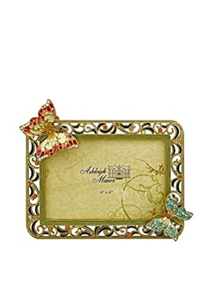 Ashleigh Manor Hand-Painted Butterfly Frame (Green/Gold)
