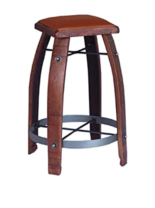 2 Day Designs Tan Leather Stool (Pine)