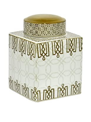 Three Hands Short Greek Key Ceramic Jar with Lid
