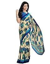 Riti Riwaz Beige & Blue Bhagalpuri Silk Casual Saree with Unstitched Blouse KNK6410B