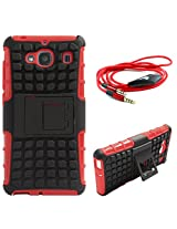 DMG Dual Hybrid Hard Grip Rugged Kickstand Armor Case for Xiaomi Redmi 2 Prime (Red) + 3.5mm Flat AUX Cable with Mic