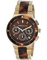 Kenneth Jay Lane Women's KJLANE-2101  Chronograph Brown Sunray Dial Gold Ion-Plated Stainless Steel and Brown Tortoise Resin Watch