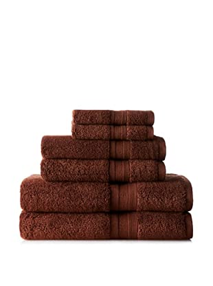 Home Source MicroCotton Aertex 6-Piece Towel Set, Chocolate