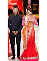 Bollywood Star Malaika In Orange & Rani Pink Bollywood Replica Lehenga Saree
