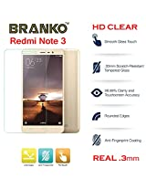 Branko Redmi Note 3 - Real (.3mm ) Tempered Glass Screen Guard for Xiaomi Redmi Note 3 - ( HD CLEAR ) - Toughened Glass - 2.5D Curved Edges - Best Quality - High Clear - Explosion Proof - Scratch Proof