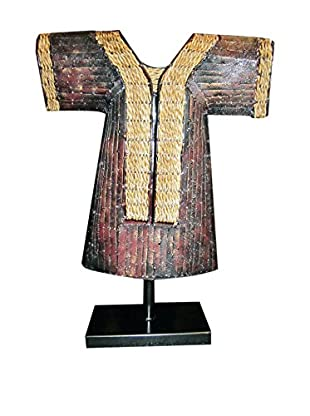 Asian Loft Forged Iron Kimono Sculpture, Crimson/Black