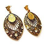 Antique golden danglers with stone finish from Violetsz
