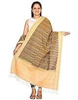 Light Brown Pochampally Or Ikat Cotton Handloom Dupatta