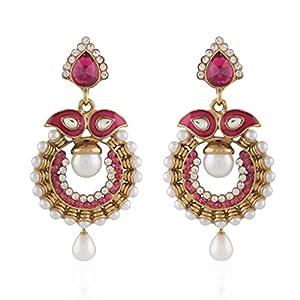 I Jewels Tradtional Gold Plated Elegantly Handcrafted Ramleela Inspired Kundan Meenakari Earrings With Pearl Drops for Women(Rani/Dark Pink)(E2069Q)