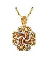 BlueStone Lattice Collection 18k Yellow Gold and Diamond Rose Pendant