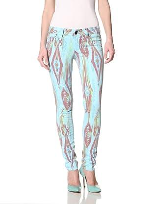 Black Orchid Women's Black Jewel Skinny Leg Zuni Print Jean (Blue Sky)