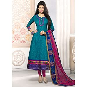 Blue & Pink Semi Stitched Anarkali Party Wear Salwar Suit Material
