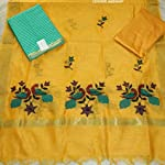 Yellow Chanderi Cotton Dress Material With Dupatta