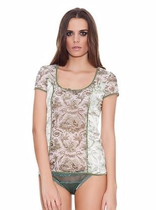 ROBERTO CAVALLI INTIMO Camiseta Estampado con terciopelo (Verde / Blanco)