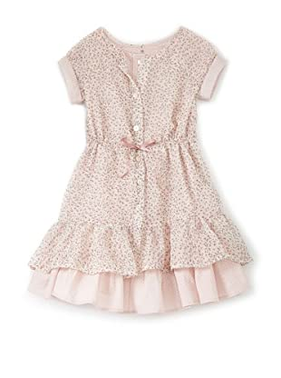 TroiZenfants Girl's Ruffle Dress with Dot Trim (Pink/Floral)