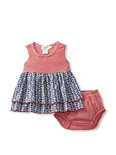 Jupon Baby Elly Dress & Bloomers Set (Red/Blue)