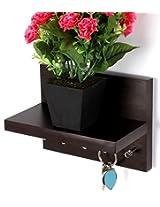 Regis Keyhold - Wall Mounted Key Holder / Key Rack Hooks with D?? cor Shelf - Skywood Wenge, brown