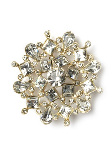 Lulu Frost 1950's Art Deco Round Crystal Brooch, Silver