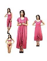 DesiHarem Sexy Nightwear Lingerie Bridal 6 Pc. Rose Pink Set