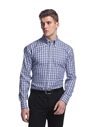 Oxxford Men's Sport Shirt with Button-Down Collar (Blue Tattersal)