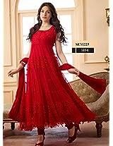 MF Retail Women's Semi Stitched Anarkali Suit (Red_XL)