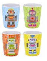French Bull - BPA Free Kids Cups - 6 ounce Melamine Kids Juice Cup Set - Robot, Set of 4