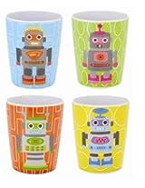 French Bull 6-Ounce Melamine Juice, Robot Kids, Set of 4