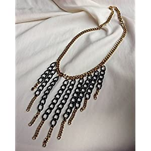 No Strings Attached Black Tassel Chain Necklace
