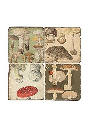 Studio Vertu Set of 4 Vintage Mushrooms Tumbled Marble Coasters with Stand