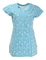 Imperial Chikan Women's Cotton Straight Kurta (6484, Blue, 38)