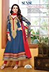 Faux Georget Embroiderd Patch Work Blue Anarkali Suits - Bfmf36006