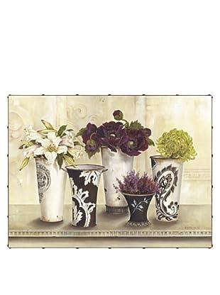 "Kathryn White Flower Serenade Hand-Embellished Canvas, 30"" x 40"""