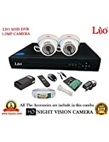 AHD LIO 4CH DVR + AHD 1.3 Megapixel High Resolution LIO 36IR DOME CAMERA 2pcs + 1 TB WD HDD + CABLE 3+1 COPPER + POWER SUPPLY (FULL COMBO)