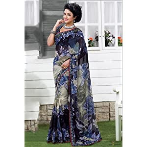 Weightless Georgette Printed Saree in Multicolour Colour 1752 B