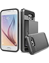 Samsung Galaxy S6 Case, Ziaon Card Slot Drop Protection Heavy Duty Wallet Case For Samsung Galaxy S6 - Black