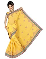 Chinco Embroidered Saree With Blouse Piece (1201-D_Yellow)