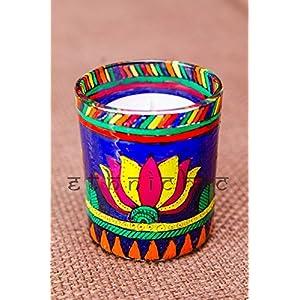EthniChic Hand painted Lotus Votive Holder