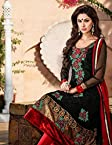 Black & Red Georgette, Crepe, Velvet & Chiffon with Resham, Zari Embroidered Work Unstitched Anarkali Salwar Kameez Suit