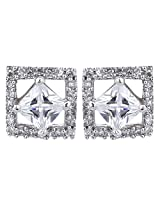 Dilan Jewels LOVE Collection Silver Princess Cut Solitaire Stud Earrings For Women