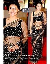 Indian Designer Bollywood Actress KAJOL BLACK Net+Rowsilk Bridal Wedding Partywear saree