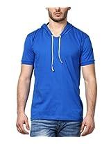 Inkovy Men's Cotton T-Shirt (INKOVY-HOOD-HALF-ROYALBLUE-S_Small_Blue)