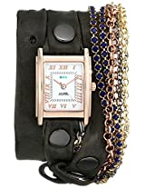 La Mer Collections Women's LMMULTI8003 Rose Gold-Plated Watch with Brown Leather Wraparound Band