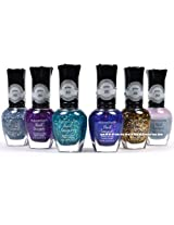 KLEANCOLOR NAIL POLISH 3D ADDICTION GLITTER TOP COAT LOT OF 6 COLORS KNP16 FREE EARRING