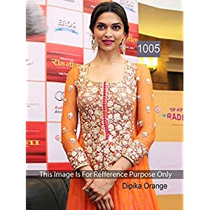 Vaikunth Fabrics Deepika Padukone Anarkali Suit - Orange