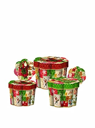 Punch Studio Nesting Set of 3 Fluted Boxes (Christmas Victoriana)