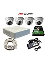Hikvision 4 Dome Cameras Effective Pixels + Hikvision 4 Channel DVR HDMI/VGA + WD 500 GB Hardisk + 90mtr CCTV wire + SMPS Supply