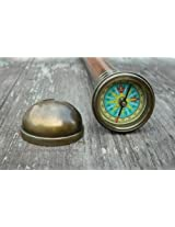 Antiqued Brass Compass Walking Stick- Hidden Solid Brass working Compass Handle