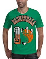 Grasshopr Mens Cotton Printed T-Shirt, Basketball Design
