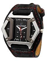 Dezine Black Leather Analog Men Watch DZ GSQ902 BLK BLK