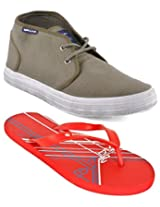Gas Arunta Olive Green Men Casual Shoes with Lotto Slippers